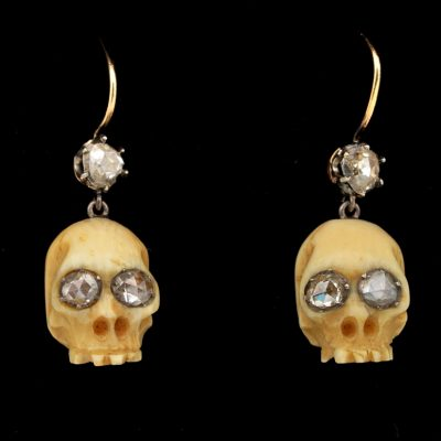Victorian Memento Mori Skull Earrings .90 Ct Diamond and Bone