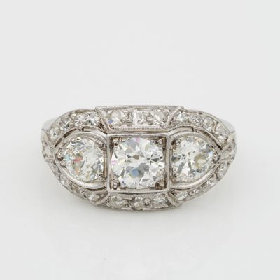 Superlative Art Deco 2.20 Ct Diamond Plus .70 Ct  Platinum Three Stone Ring