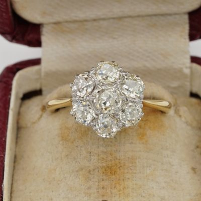 Art Deco 2.60 Ct  Old Mine Cut Diamond Cluster Engagement Ring