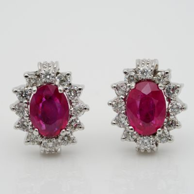 Superb 2.0 Ct Natural Ruby .40 Ct Diamond Classy Vintage Halo Studs