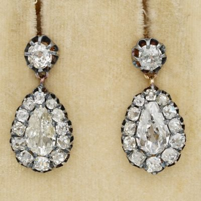 Early Victorian 5.45 Ct Diamond Rare Drop Earrings 1840 ca