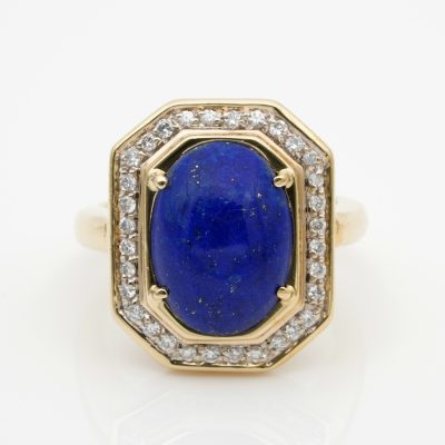 Sturdy Vintage Diamond Lapis Cocktail Ring Heavy 18 KT Gold