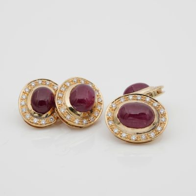 Vintage Double Sided Natural Ruby Diamond 18 KT Gent 18 KT Gold Cuff links