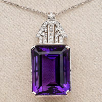 Late Deco 45.0 Ct Natural Amethyst Diamond Marvellous Pendant Necklace
