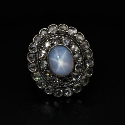 Victorian Glorious 6.40 Ct  Star Sapphire 1.90 Ct Rose Cut Diamond Rare Ring