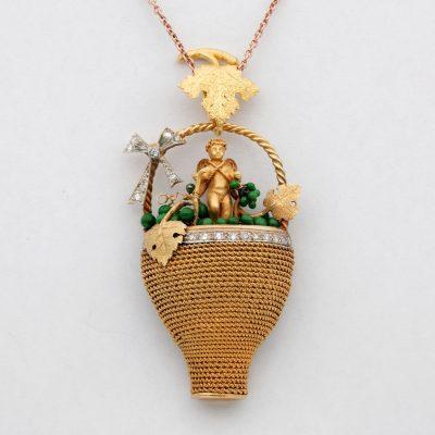 Victorian Bacchus Allegory Amazing 18 KT Diamond Enamel Large Rare Pendant