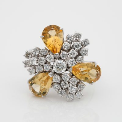 Bold Unique Vintage 6.60 CT Natural Yellow Sapphires Diamond Cocktail Ring