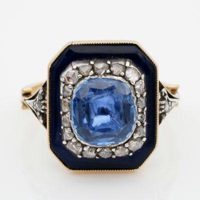 Rare Georgian 4.90 Ct Natural No Heat Sapphire Diamond Bristol Glass Ring