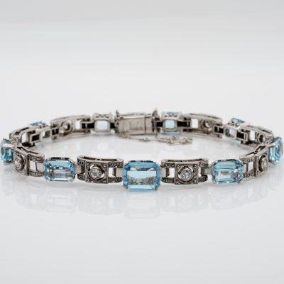 Authentic Art Deco 9.0 CT Natural Aquamarine Diamond Platinum Bracelet