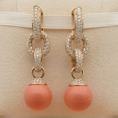 Natural Coral 2.70 Ct Diamond Earrings Split Into Four Pairs!