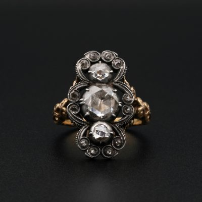 Remarkable Georgian 1.80 Ct Diamond Rare Panel Ring 1790 ca!