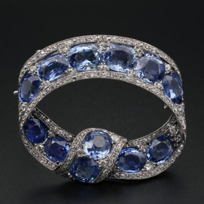 Rare Russian 22.0 Ct Cert Natural Sapphire 3.20 Ct Diamond Tsarist Bow Brooch