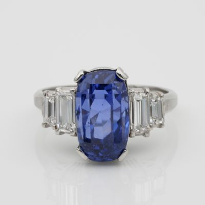 Magnificent Art Deco Certified 7.14 Ct No Heat Sapphire Diamond Platinum Ring