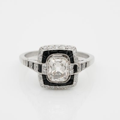 Distinctive Art Deco 1.0  Ct Solitaire Diamond Plus Onyx Platinum Engagement ring