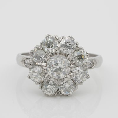 Breathtaking Edwardian 3.15 Ct Old Diamond Platinum Engagement Cluster Ring