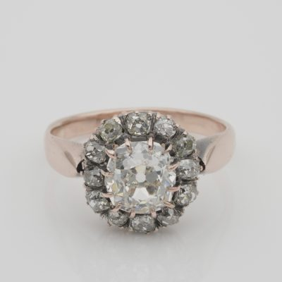 Magnificent Victorian 1.75 Ct Diamond J VVS plus .85 Ct Rare Cluster ring