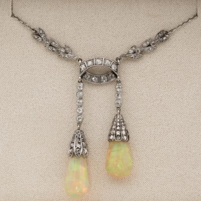 Stunning Edwardian Rare Australian Opal Drop Diamond Platinum Negligee Necklace