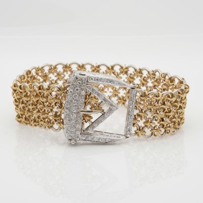 Outstanding Retro 1.45 Ct Diamond Buckle Bracelet 55.6 grams 18 KT gold!