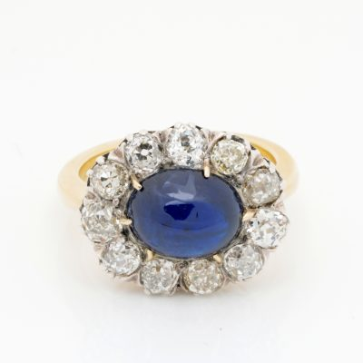Authentic Victorian 5.90 Ct Natural No Heat Sapphire 2.90 Ct Mine Diamond ring