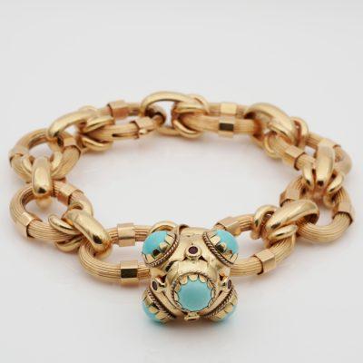 Fabulous Stylish Italian 60′ Vintage 18 KT Turquoise Charm Bracelet
