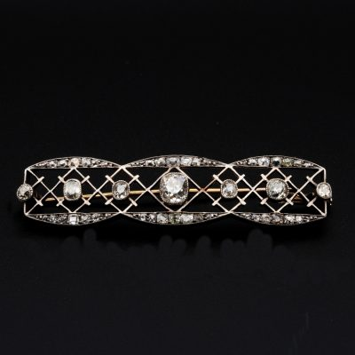 Edwardian Rare 1.05 Cushion Diamond plus 2.30 Ct Diamond Bar Brooch