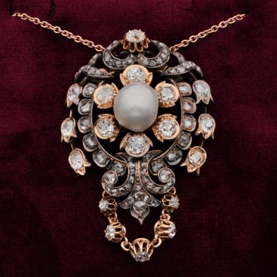 Glorious Victorian Natural Pearl 4.90 CT Diamond Rare Royalty Pendant