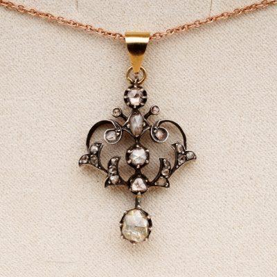 Georgian Charming .95 Ct Rose Cut Diamond Rare Lavaliere necklace