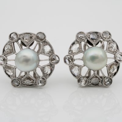 Spectacular Art Deco Natural Pearl Rose Cut Diamond Platinum Earrings