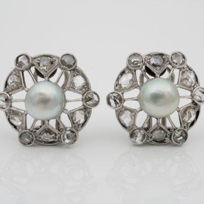 Art Deco Natural Pearl Rose Cut Diamond Platinum Earrings