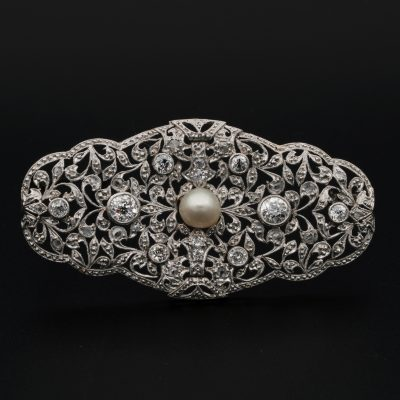 Edwardian Diamond Natural Pearl Platinum Large Statement Brooch 1910 ca!