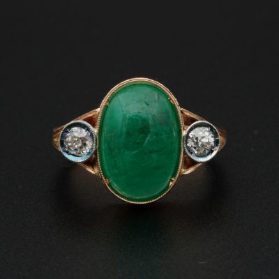 Attractive Edwardian 4.50 Ct natural emerald .60 Ct Diamond Three Stone Ring