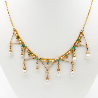 Early Edwardian Rare Diamond Pearl Emerald Swag Necklace 1900 ca!
