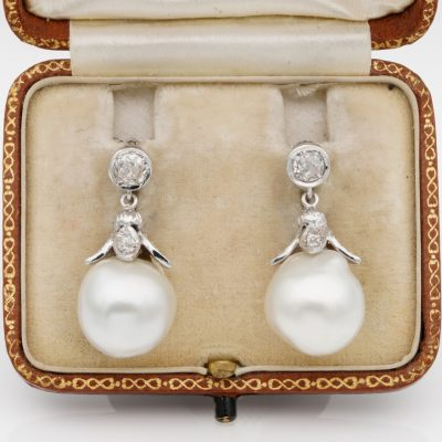 Superb Vintage 13 mm Large Salt Water Pearl 1.0 Ct Diamond Rare Earrings