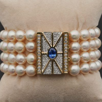 Vintage Pearl Diamond Natural Sapphire Mid Century Cocktail Bracelet
