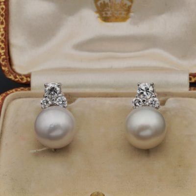 Superb Vintage 10.5 mm South Sea Pearl .60 Ct G VVS Diamond Stud earrings