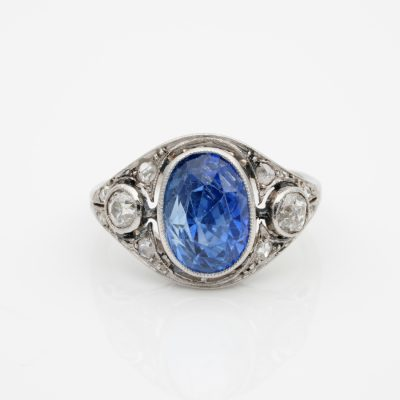 Edwardian Rare 5.40 Ct Natural No Heat Sapphire Diamond Platinum Trilogy Ring