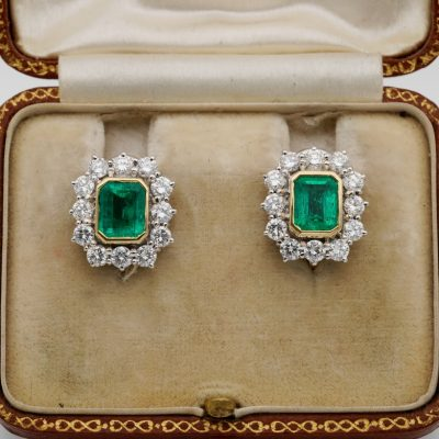Superb Mid Century 1.70 Ct Colombian Emerald 1.70 CT  F/G VVS/VS Diamond Earrings