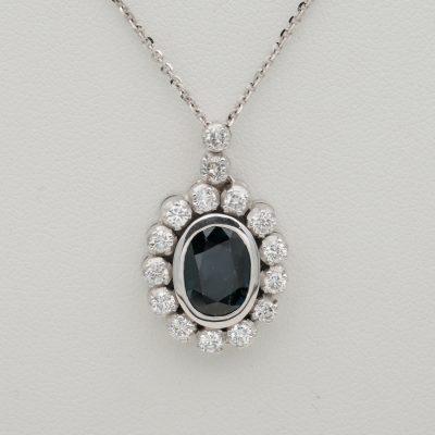 Vintage 2.20 Ct Natural Blue Sapphire 1.05 G VVS Diamond Pendant Necklace