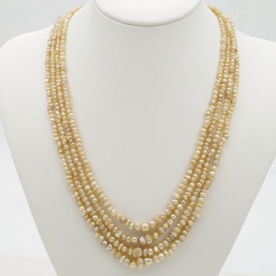 Rare Victorian Four Strand Graduated Natural Basra Pearl Necklace 1860 ca