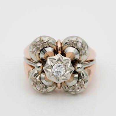 Retro Jumbo Sized Diamond 18 KT Gold Ring