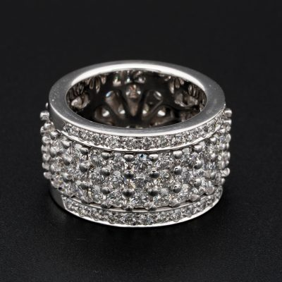 Impressive 6.50 Ct F  IF/VVS Night and Day Spin Rotating Diamond Eternity Ring