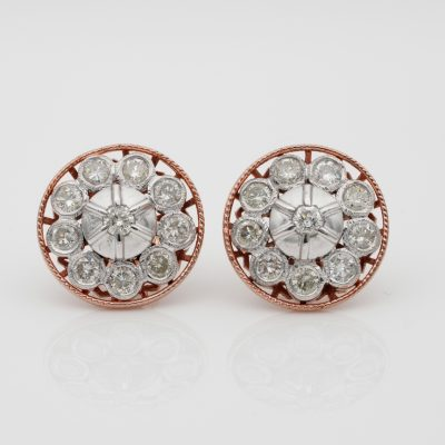 Beautiful Edwardian Night & Day 1.80 Ct. Diamond Platinum Rose Gold Earrings