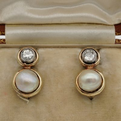 Victorian Diamond Natural Basra Pearl Double Target Earrings