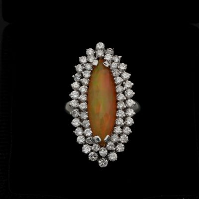 Magnificent Vintage Marquee Shaped Rare Fire Opal 2.60 Ct Diamond Ring