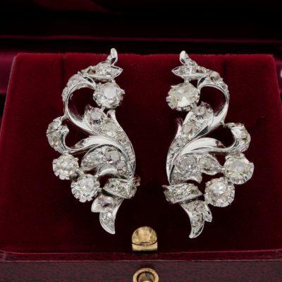 Spectacular Art Deco 5.60 Old Mine Cut Diamond Flower Spray Earrings