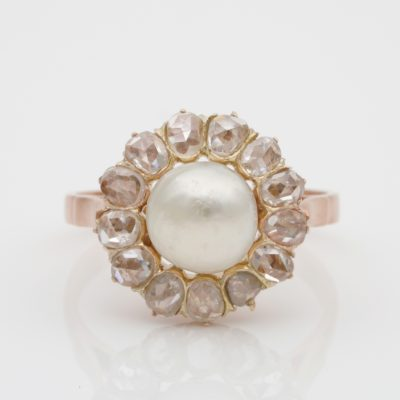 AUTHENTIC VICTORIAN 1880 ca  ROSE CUT DIAMOND NATURAL BASRA PEARL RING!