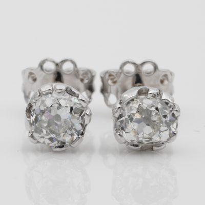Superb Art Deco 1.65 Ct Old Mine Cut Diamond G/H VS Solitaire Platinum Stud Earrings