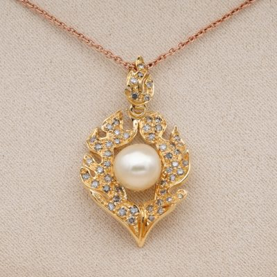 Fabulous Vintage .80 Ct Orange Brown Diamond Flamed Pearl Pendant Chain