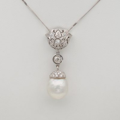 Deco Jumbo South Sea Pearl 1.40 Ct Old Diamond Platinum 18 KT Pendant Necklace