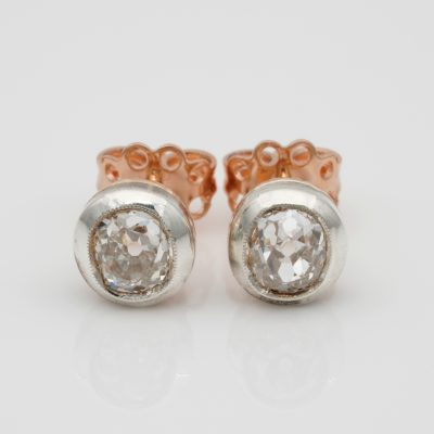 Dearest Victorian 1.63 Ct Old Mine Diamond Solitaire Stud Earrings Silver/Gold